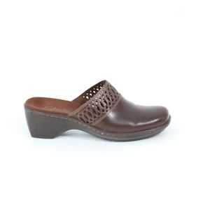 Clarks Leather Clogs Women Brown comfort Shoes
